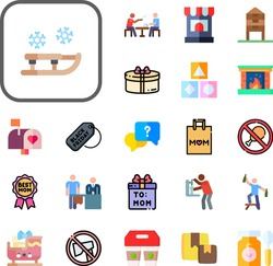 box Collection Vector Icons Set. box flat icons also sleigh, reward, gift, delivery, no cut, check in, lunch break, fireplace, fried, shopping bag, carrier, black friday, mailbox