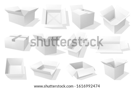 Box 3d vector mockups of blank white cardboard packages in different angels. Open and closed carton paper pack and delivery parcel realistic templates, medicine, food and cosmetic packaging themes