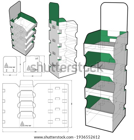 Box for Display Stand and Die-cut Pattern Foto stock ©