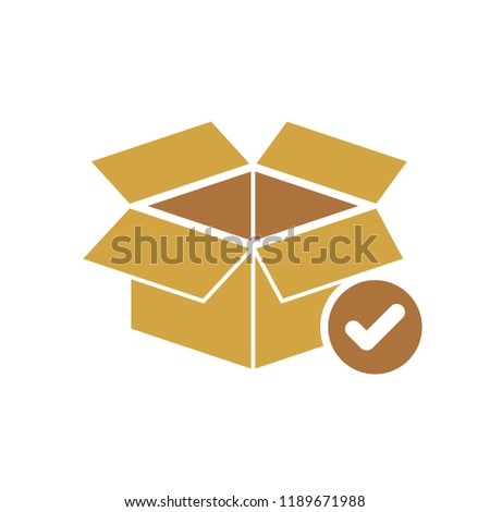 Box icon, delivery and shipping, open package, unbox icon with check sign. Box icon and approved, confirm, done, tick, completed symbol. Vector