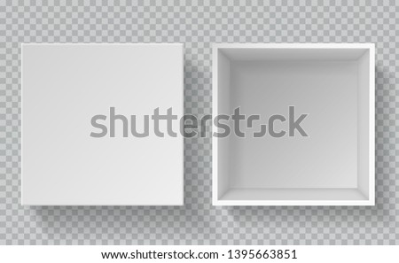 box mockup top view realistic