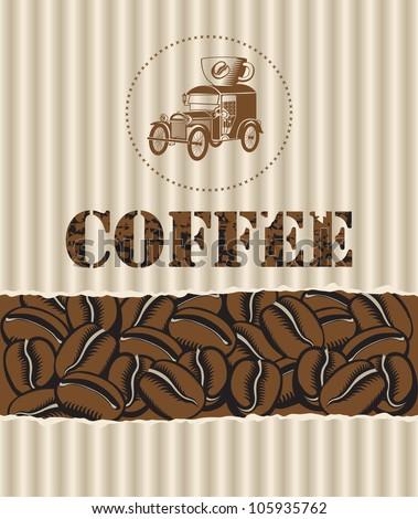 box of coffee grains with a retro car