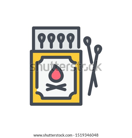 Box of matches color line icon. Safety match vector outline colorful sign.