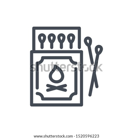 Box of matches line icon. Safety match vector outline sign.