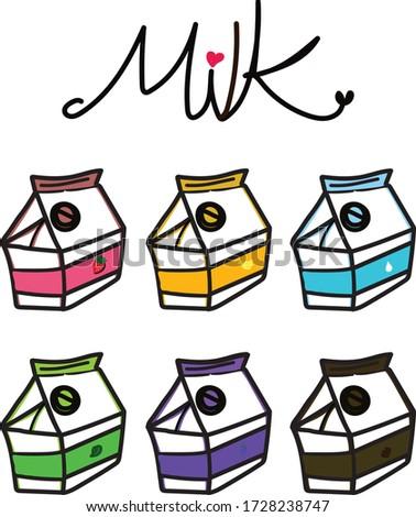 Box of milk, fresh milk,tea milk,strawberry milk,banana milk,chocolate milk,grape milk ,milk vector,box of milk design, illustration