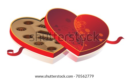 Box of sweets in the form of heart with a red ribbon