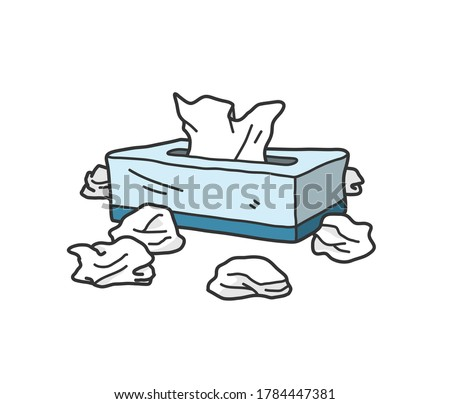 Box of tissue paper doodle, hand drawn vector doodle illustration of a box of tissue with crumpled used tissue paper around it, isolated on white background.