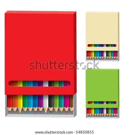 Box of wooden pencils on white background - stock vector