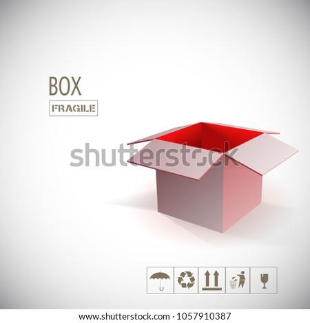 box open empty red stock vector