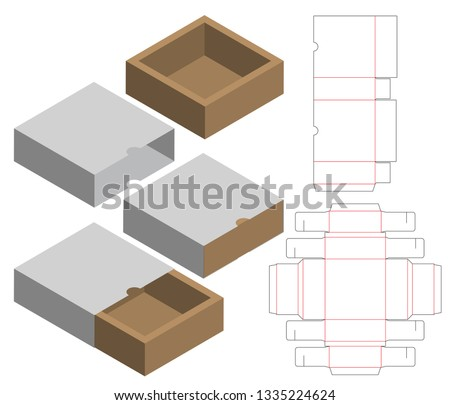 Box packaging die cut template design. 3d mock-up Stock foto ©