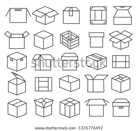 Box packaging line icons. Package icon set, paper boxes, outline packages, crate symbols and mail transport service sending containers, vector illustration