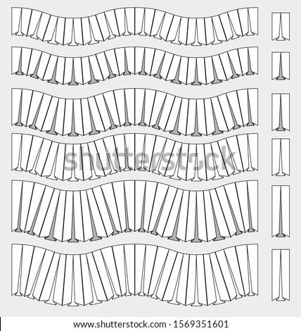 box pleats ruffle trim fashion brush and element set vector ストックフォト ©