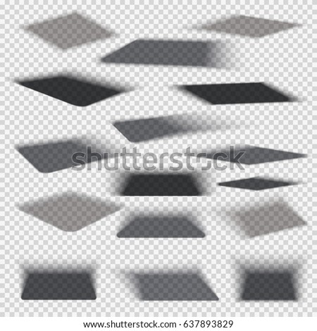 Box square shadows with soft edge isolated on transparent background vector set