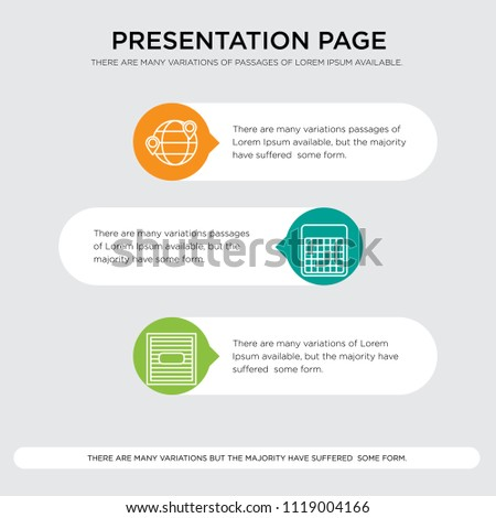 Box, Table, Destination vector icons presentation design template, sign and symbols in orange, green, yellow colors, Box, Table, Destination icon set