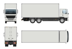 Box truck vector template with simple colors without gradients and effects. View from side, front, back, and top