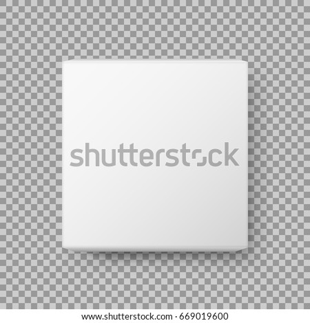 Box view. Realistic White blank Package Cardboard Box. isolated on transparent background. Vector illustration. Eps 10.