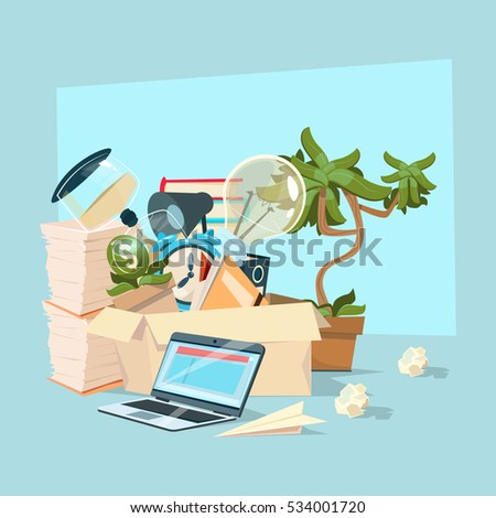 Box With Business Office Stuff Workplace Objects Flat Vector Illustration