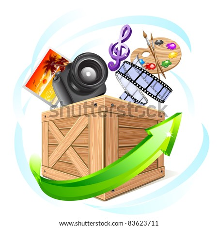 Box with multimedia content - stock vector