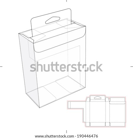 Box with Shelf Hanging Holes and Die cut Layout