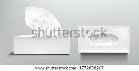 Box with white paper napkins. Vector realistic mockup of blank open and closed cardboard package with facial tissues or handkerchiefs, top side view isolated on transparent background