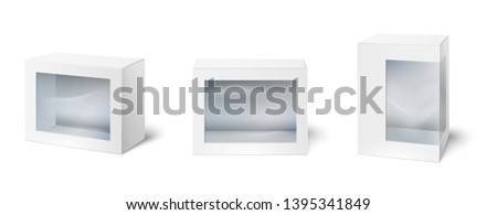 Box with window. Showcase packaging boxes, windows on cardboard package and empty white packages mockup 3d isolated vector set