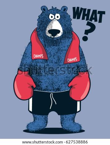 boxer bear player comic vector