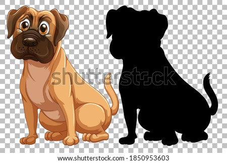 Boxer dog and its silhouette illustration