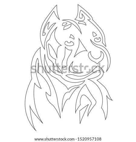 Boxer dog silhouette outline, coloring outlined in black, drawn by lines of various widths. Logo animal dog boxer head. Vector illustration
