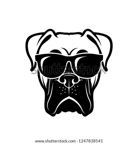 Boxer dog wearing sunglasses - isolated outlined vector illustration