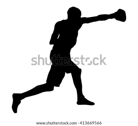boxer in ring vector silhouette