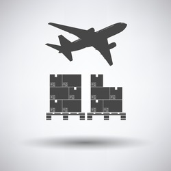 Boxes on pallet under airplane on gray background, round shadow. Vector illustration.