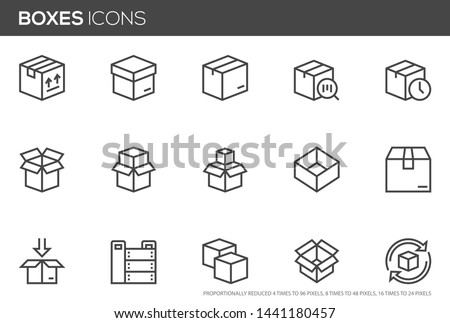 Boxes vector line icons set. Open Box, recycled box, wooden crate. Perfect pixel icons, such can be scaled to 24, 48, 96 pixels.