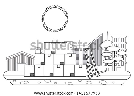 boxes with pushcart in black and white