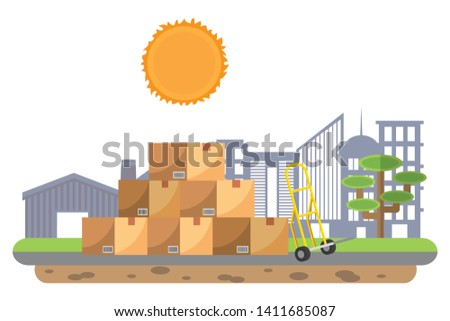 boxes with pushcart vector illustration