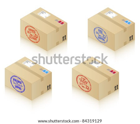 Boxes with shipping stamps. Express Delivery, 1st Class Post, Worldwide Shipping and Free Shipping