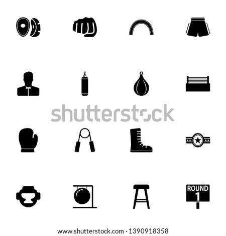 Boxing and Fighting icon - Expand to any size - Change to any colour. Perfect Flat Vector Contains such Icons as fist, punch, championship belt, ring, headgear, punching bag, referee, shorts, glove