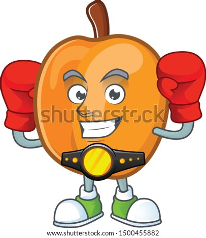 Boxing apricot cartoon character for nutritious maskot