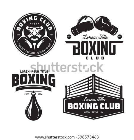 Boxing club labels emblems badges set. Boxing related design elements for prints, logos, posters. Vector vintage illustration. Foto stock ©