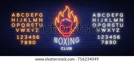 boxing club logo in neon style  ...