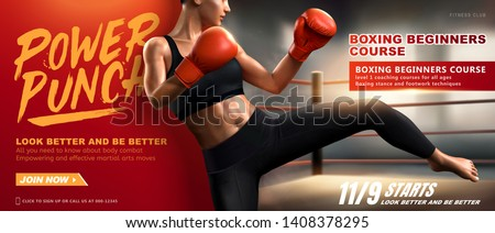 Boxing course banner with woman boxer kicks high in ring, 3d illustration