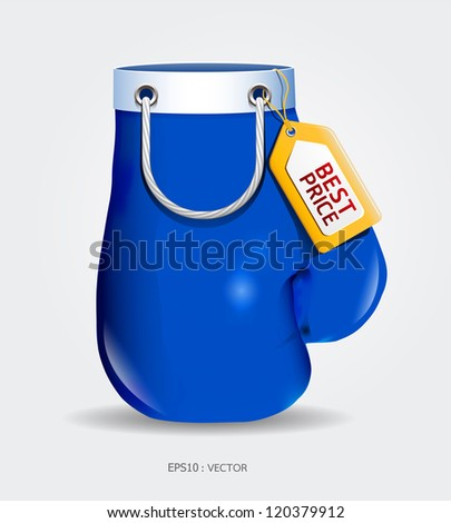 Boxing day shopping creative sale idea blue glove / vector / isolated on white background.