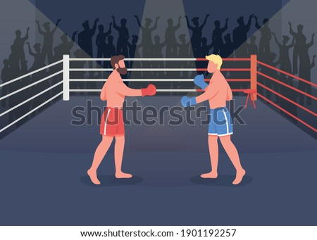 Boxing event flat color vector illustration. Two strong proffesionals fighting between to win championship. Strong boxers 2D cartoon characters with lots of people near boxing ring on background Foto stock ©