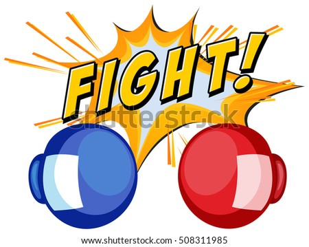 boxing gloves and word fight on