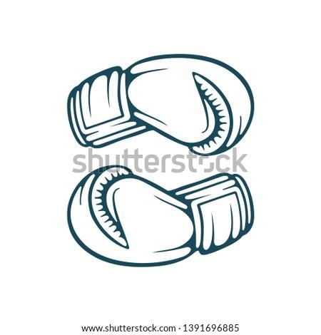 Boxing gloves. Boxing gloves hand drawn vector illustration.