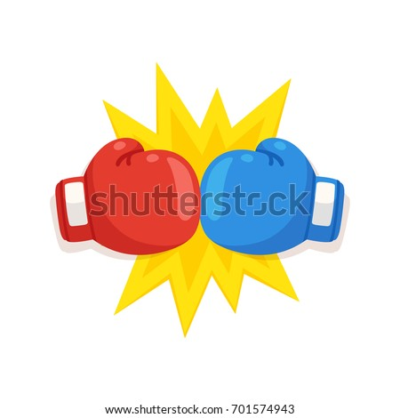 boxing gloves fight icon  red