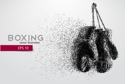 Boxing gloves from particles. Background and text on a separate layer, color can be changed in one click. Boxer. Boxing. Boxer silhouette
