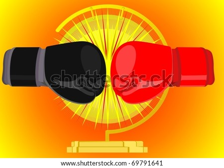 Boxing gloves in red and black on the background of a gong