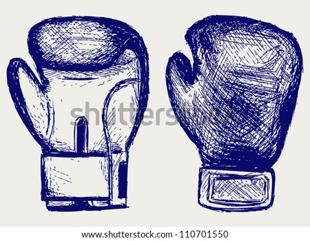 Boxing gloves. Sketch