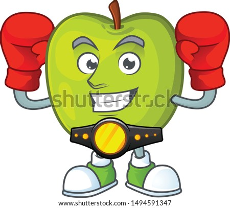 Boxing granny smith in a green apple character mascot