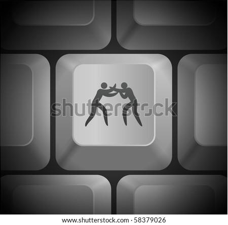 Boxing Icon on Computer Keyboard Original Illustration